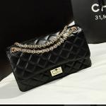 กระเป๋าหนังแกะ ชาแนลคลาสสิก โซ่ทอง (28x17x9CM)