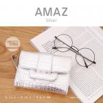 กระเป๋าสตางค์ผู้หญิง ขนาดกลาง รุ่น AMAZ สีเงิน