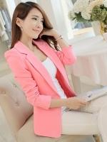 เสื้อสูท ตัดเย็บซับในสีขาวซ่อนตะเข็บอย่างดี กระดุมหุ้มผ้าสีเดียวกับเสื้อ สีชมพู M