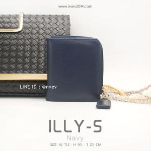 กระเป๋าสตางค์ผู้หญิง ILLY-S สีน้ำเงินกรม