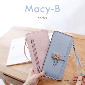 กระเป๋าสตางค์ผู้หญิง ทรงถุง รุ่น MACY-B สีฟ้าพาสเทล