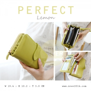 กระเป๋าสตางค์ผู้หญิง รุ่น PERFECT สีเขียวมะนาวใบยาว