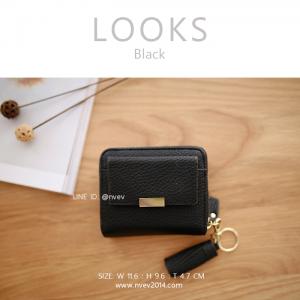 กระเป๋าสตางค์ผู้หญิง ใบสั้น รุ่น LOOKS สีดำ