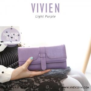 กระเป๋าสตางค์ผู้หญิง รุ่น VIVIEN สีม่วงอ่อน ใบยาว