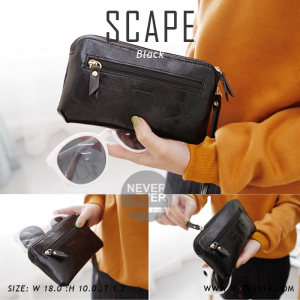 กระเป๋าสตางค์ผู้หญิง ทรงถุง สีดำ รุ่น SCAPE