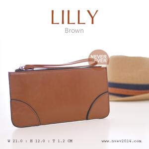 กระเป๋าสตางค์ผู้หญิง ทรงถุง กระเป๋าคลัทช์ สีน้ำตาล รุ่น LILLY