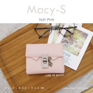 กระเป๋าสตางค์ผู้หญิง ใบสั้น รุ่น MACY-S สีชมพูพาสเทล