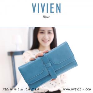 กระเป๋าสตางค์ผู้หญิง รุ่น VIVIEN สีฟ้า