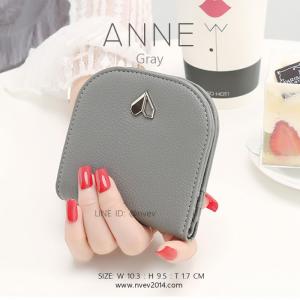 กระเป๋าสตางค์ผู้หญิง แบบบาง รุ่น ANNE สีเทา