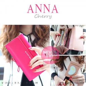 กระเป๋าสตางค์ผู้หญิง รุ่น ANNA สีชมพูเชอร์รี่ ใบยาว
