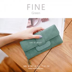 กระเป๋าสตางค์ผู้หญิง FINE สีเขียว
