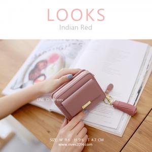 กระเป๋าสตางค์ผู้หญิง ใบสั้น รุ่น LOOKS สีอินเดียนเรด