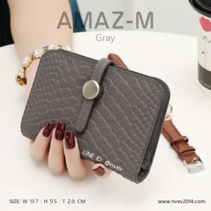 กระเป๋าสตางค์ผู้หญิง ขนาดกลาง รุ่น AMAZ -M สีเทา