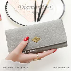 กระเป๋าสตางค์ผู้หญิง ใบยาว รุ่น DIAMONDS-L สีเทา