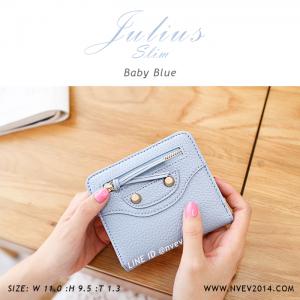 กระเป๋าสตางค์ผู้หญิง JULIUS Slim สีฟ้า