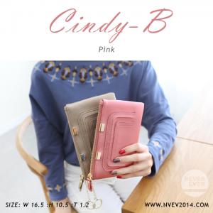 กระเป๋าสตางค์ผู้หญิง ทรงถุง สีชมพู รุ่น CINDY-B