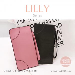 กระเป๋าสตางค์ผู้หญิง ทรงถุง กระเป๋าคลัทช์ สีชมพู รุ่น LILLY