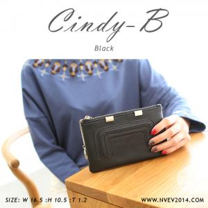 กระเป๋าสตางค์ผู้หญิง ทรงถุง สีดำ รุ่น CINDY-B