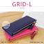 กระเป๋าสตางค์ผู้หญิง รุ่น GRID-L สีชมพูเข้ม ใบยาว สองซิป thumbnail 4