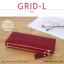กระเป๋าสตางค์ผู้หญิง รุ่น GRID-L สีชมพูเข้ม ใบยาว สองซิป thumbnail 6
