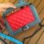 กระเป๋าหนัง ทรงชาแนลบอย Happy summer (Red-Gray) 10 นิ้ว thumbnail 6