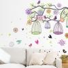 "Wall Sticker สติ๊กเกอร์ตกแต่งผนัง หมวดต้นไม้ ""Colorful Birdcage"" ความสูง 70 cm ยาว 100 cm"