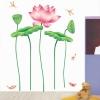 """สติ๊กเกอร์ติดผนัง หมวดดอกไม้ """"ใบบัวและแมลงปอ"""" ความสูง 130 cm ความกว้าง 180 cm"""