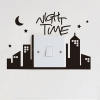 """สติ๊กเกอร์ติดปลั๊กไฟ """"Night Time สีดำ"""" ขนาดซองบรรจุ 15 x 12 cm"""