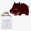 """สติ๊กเกอร์ติดปลั๊กไฟ """"ฮิปโป Hippo""""ขนาดซองบรรจุ 15 x 12 cm"""
