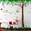 """สติ๊กเกอร์ติดผนัง ตกแต่งบ้าน Wall Sticker ขนาดใหญ่ """"ต้นไม้ใหญ่สีน้ำตาลกับนกหวาย"""" ความสูง 220 cm กว้าง 190 cm"""