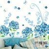 """สติ๊กเกอร์ติดผนัง หมวดดอกไม้ """"Sky Blue Flora"""" ความสูง 85 cm กว้าง 120 cm"""