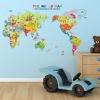 """สติ๊กเกอร์ติดผนังตกแต่งบ้าน """"แผนที่ The World Map """" ความสูง 59 cm กว้าง 99 cm"""