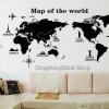 """สติ๊กเกอร์ตกแต่งผนังเมืองท่องเที่ยว """"แผนที่ Map of the world"""" ความสูง 60 cm ความกว้าง 120 cm"""
