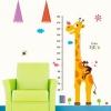"""สติ๊กเกอร์ติดผนังพีวีซีเนื้อใส ที่วัดส่วนสูง """"Giraffe with sweet monkey"""" สเกลเริ่มต้น 60 cm ถึง 180 cm"""
