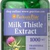 Detox บำรุงตับ Puritan's Pride Milk Thistle 4:1 Extract 1000 mg (Silymarin) ขนาดสุดคุ้ม 180 Softgels