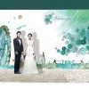 backdropงานแต่งงาน - inkjet backdrop wedding สีน้ำโทนฟ้าเขียวน้ำทะเล