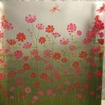 """สติ๊กเกอร์ติดกระจกแบบมีกาวในตัว """"Green Flower Fence"""" ความสูง 90 cm ตัดแบ่งขายเมตรละ 189 บาท (ขั้นต่ำ 3m)"""