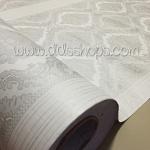 "Wallpaper Sticker วอลล์เปเปอร์แบบมีกาวในตัว ""ลายไทย หลุยส์สีเทาเงิน "" หน้ากว้าง 1.22m ตัดขายตามความยาว เมตรละ 250 บาท"