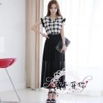 ชุดเกาหลีชีฟอง แขนค้างคาวเย็บผ้าตาหมากรุก ชุดขาวดำ