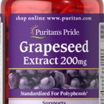 อาหารเสริมบำรุงผิว ลดริ้วรอย Puritan's Pride Grapeseed Extract 200 mg / 120 Capsules