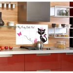 """สติ๊กเกอร์ติดครัว กันน้ำมันกระเด็น อลูมิเนียม """"Pretty cat"""" ขนาด 45cm x 75cm"""
