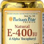 บำรุงผิว สนับสนุนการทำงานของหัวใจ Puritan's Pride Vitamin E-400 iu 100% Natural d-Alpha Tecopheryl ขนาด 100 Softgels