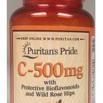 ผิวสวยใส เพิ่มภูมิต้านทาน Puritan's Pride Vitamin C-500 mg with Bioflavonoids & Rose Hips ขนาด 100 Caplets