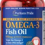 บำรุงสมองและหัวใจ Puritan's Pride Omega-3 Fish Oil 1360 mg (950 mg Active Omega-3) - 90 Softgels