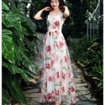 ชุดผ้าไหมแก้วซีทรูหรู ลายดอกไม้แดง ชุด Peony เสื้อกั๊กสลิมชุดกระโปรง QLA