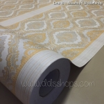"Wallpaper Sticker วอลล์เปเปอร์แบบมีกาวในตัว ""ลายไทย หลุยส์สีเหลืองทอง"" หน้ากว้าง 1.22m ตัดขายตามความยาว เมตรละ 250 บาท"