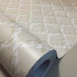 "Wallpaper Sticker แบบมีกาวในตัว หน้ากว้าง 1.22m ""White Modern Leather"" ตัดแบ่งขายเป็นเมตร เมตรละ 280 บาท"