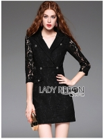 พร้อมส่ง Dress สูทเดรสผ้าลูกไม้สีดำสไตล์ฟอร์มอล ตัวนี้ใส่แล้วจะเป็นลุคทางการ สวยมากๆ ดูเรียบร้อยแต่เก๋ในเวลาเดียวกัน