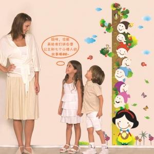 """สติ๊กเกอร์ติดผนังพีวีซีเนื้อใส ที่วัดส่วนสูง """"Height Scale with Children"""" สเกลเริ่มต้น 50 cm ถึง 180 cm"""