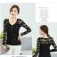 เสื้อลูกไม้เกาหลีคอ Vแขนยาว สีขาว ดำ thumbnail 7